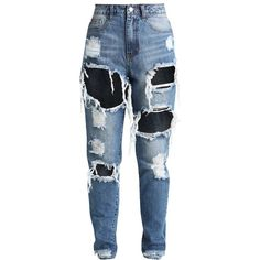 Missguided Petite RIOT HIGH RISE RIPPED Slim fit jeans ($45) ❤ liked on Polyvore featuring jeans, petite jeans, high-waisted jeans, high waisted destroyed jeans, distressed jeans and blue jeans