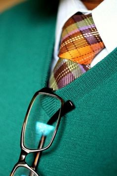 Green v neck sweater + plaid tie + white oxford