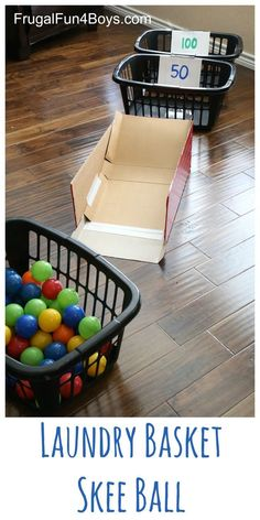 Indoor recess game - Laundry Basket Skee Ball with ball pit balls - what an awesome indoor active game for kids!