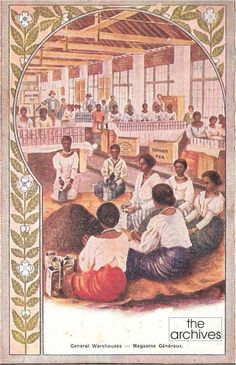 A promotional card for Ceylon Tea showing Ceylonese women packing Tea for a Tea brand called Quaker Tea -  from The Exposition Universelle Paris 1900. The Exposition Universelle of 1900 was a world's fair held in Paris, France, from 15 Apr to 12 Nov 1900. Countries from around the world including Ceylon were invited by France to showcase their achievements and lifestyles. Ceylon participated with a Ceylon Pavilion at the exposition.