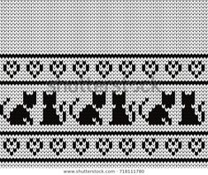Knitted seamless border cats and hearts Fair Isle Knitting Patterns, Knitting Designs, Crochet Patterns, Cross Stitch Borders, Cross Stitching, Cross Stitch Patterns, Knitting Socks, Baby Knitting, Punto Fair Isle