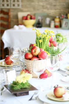 Apples and Flowers table set up (would be a nod to the rustic wedding feel without stealing her ideas)