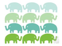 Green Elephant Family Art Print by Avalisa at Art.com