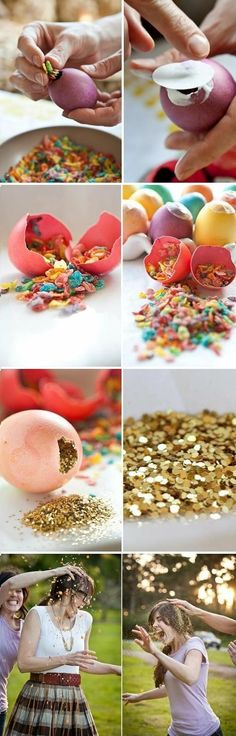 confetti eggs... Such a cute party idea!