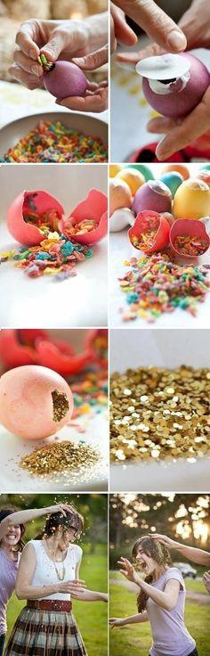 confetti eggs... Such a cute party idea! / quebrar ovo de confete na aniversariante!