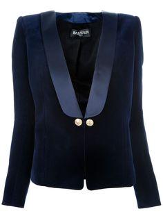 Balmain + gold buttons + Tux Jacket + velveteen + blue satin