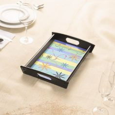 Flowers and stripes - indigo serving tray  $39.95  by Florismagica  - custom gift idea