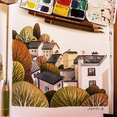 Sketch from yesterday. #cahersiveen . . #sketch #sketchbook #sketching#sketches #urbansketch #watercolor #watercolors #ireland #kerry #art #illustration #houses #trees #autumn #fall