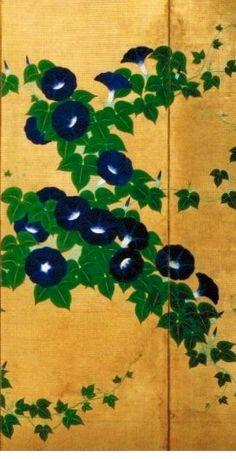 Detail. Suzuki Kiitsu's Morning Glories byobu. Japan. Nineteenth century. Rinpa classic.