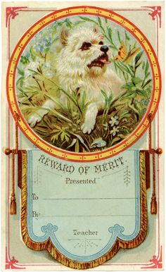 Vintage Reward of Merit Card with Cute Dog! ~ The Graphics Fairy