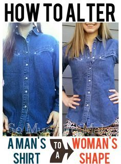How To Alter a Man's Shirt to a Woman's Shape repurpose sewing tutorial