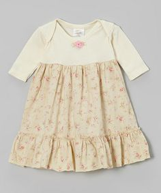 Take a look at this Ecru Rosette Ruffle Lap Neck Dress - Infant by Victoria Kids on #zulily today!