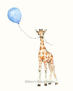Giraffe With Blue Balloon Nursery Print- 5 X 7- boys room by Marysflowergarden on Etsy https://www.etsy.com/listing/219480428/giraffe-with-blue-balloon-nursery-print