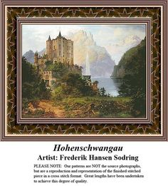 Hohenschwangau, Fine Art Counted Cross Stitch Pattern also available in Kit and Digital Download #pinterestcrossstitchpattern #pinterestgifts #fineartcrossstitchpatterns