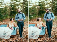 bride blush dress groom suspenders teal couch Photo: Laurel McConnell Design & Styled: www.hollykateandcompany.com