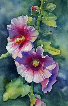 Sunny Pink Hollyhock by Ann Mortimer | Redbubble