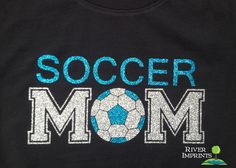 Show your SOCCER MOM pride in this 100% cotton tee with your choice of shirt style, shirt color, and 2 glitter colors. Choose from a Regular Adult Unisex tee or Ladies' Fitted tee -- SIZES -- S, M, L,