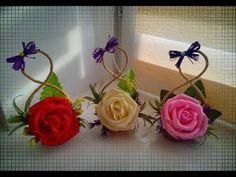 Diy Ribbon Flowers, Crepe Paper Flowers, Felt Flowers, Crochet Flowers, Fabric Flowers, Diy And Crafts, Paper Crafts, Flower Video, Jewellery Boxes