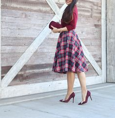 Dream of the Crop Cardigan in Wine, Feedback At It Sleeveless Top in Cream, Posh Particulars Clutch in Merlot, Potluck Hostess Midi Skirt in Red, burgundy bow pumps, holiday party outfit, plaid midi skirt, petite outfits, fall fashion - click the photo for outfit details!