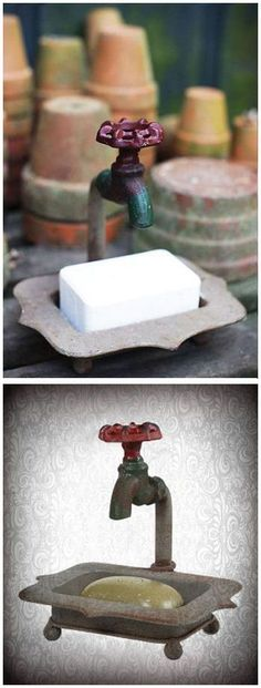 Rustic Claw Foot Bathtub With Faucet Soap Dish | SO cUte!
