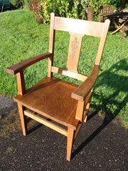 Arts & Crafts Chair with Cadeceus Symbol Material: oak Condition: Good and sturdy Origin: British Circa 1905