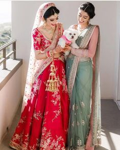"""Real Brides in Lightweight Bridal Outfits prove """"Less is More"""" Acing the traditional red bridal look but with a rather light lehenga ! Indian Bridal Outfits, Indian Bridal Lehenga, Indian Designer Outfits, Indian Sarees, Indian Dresses, Indian Clothes, Silk Sarees, Party Wear Dresses, Bridal Dresses"""