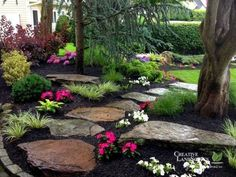 Front Yard Garden Design 55 Gorgeous Rock Pathway Design Ideas To Enhance Your Beautiful Garden 05 - 55 Gorgeous Rock Pathway Design Ideas To Enhance Your Beautiful Garden 05 Landscaping With Rocks, Outdoor Landscaping, Front Yard Landscaping, Outdoor Gardens, Landscaping Ideas, Backyard Ideas, Country Landscaping, Wooded Backyard Landscape, Shade Landscaping