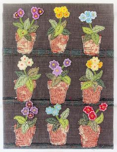 Auricula Theatre Applique by Bustle & Sew Free Motion Embroidery, Machine Embroidery Applique, Applique Quilts, Quilting Projects, Sewing Projects, Sewing Ideas, Fabric Journals, Thread Painting, Primitive Folk Art
