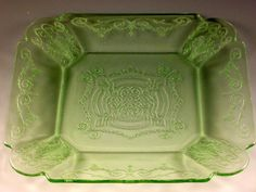 Depression Glass Lorain Basket Swag Etched Green Square Lunch Plate Indiana VTG