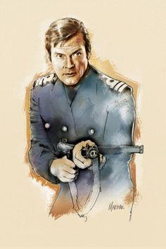 Roger Moore as James Bond by Jeff Marshall James Bond Books, James Bond Movies, Comic Book Artists, Comic Books, Kiss Kiss Bang Bang, Spy Who Loved Me, Bond Cars, Roger Moore, Dark Horse