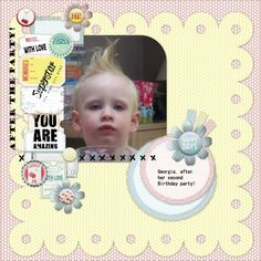 My daughter after her 2nd birthday party!  Made using Docrafts Happy Days collection
