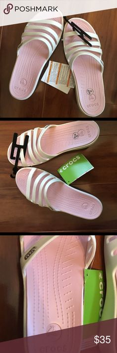 Ladies Crocs Pink and White Size 40 NWT NWT Ladies Crocs Size 40 CROCS Shoes Sandals