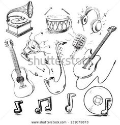 Musical instruments and icons collection. Hand drawing sketch vector illustration - stock vector