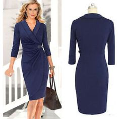 Womens-V-neck-Sheath-Ruched-Wrap-Party-Pencil-Dress-Office-Work-Dresses