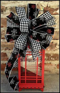 Christmas Black White Red Snowflake Bow by TootsieSuesWreaths Christmas Swags, Christmas Lanterns, Black Christmas, Christmas Wrapping, Christmas Crafts, Christmas Decorations, Holiday Decor, Xmas, Christmas Time