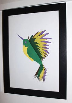 Flying bird;  3D vibrant wall art by CutOutsProductDesign on Etsy