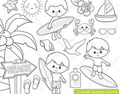 Surfer boys - Digital Stamps  - Clipart