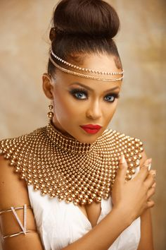 Former Beauty Queen Tomi Salami channels her Inner Grecian Goddess in New Photos to Mark her Birthday Today! Former Beauty Queen Tomi Salami channels her Inner Grecian Goddess in New Photos to Mark her Birthday Today! African Necklace, African Beads, African Jewelry, African Print Fashion, African Fashion Dresses, African Attire, African Dress, African Style, African Design