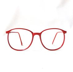 vintage 1980's eyeglasses oversized round red by RecycleBuyVintage