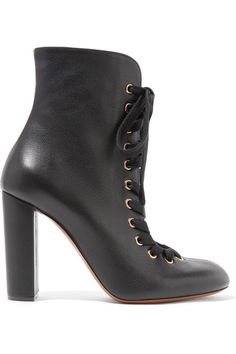 Chloé - Lace-up Leather Ankle Boots - Black - IT37.5