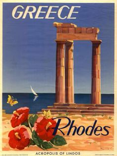 Acropolis of Lindos Vintage travel poster of #Rhodos #Greece, designed by C. Nenna