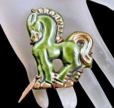 Doliet France Horse Brooch Green Ceramic by GrapenutGlitzJewelry
