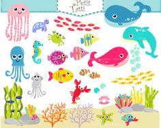 Under The Sea Clip Art Ocean Digital ClipArt by YarkoDesign