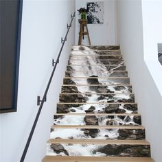 13 Pieces/Set Creative DIY 3D Stairway Stickers Waterfall Pattern for House Stairs Decoration Large Staircase Wall Sticker #Affiliate