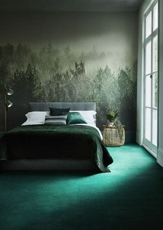 This gradience of green is punctuated by an emerald carpet and a misty forest scene – presenting the illusion that you're sleeping among the treetops.
