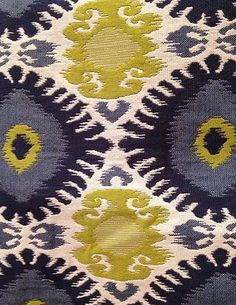 This is the same fabric that is on 6 of the chairs. Navy Blue Cream Lime Green Ikat Tapestry Upholstery Fabric | eBay