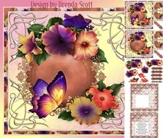 Petunia Power by Brenda Scott 5 page mini kit approx 8 x 8 topper with butterfly approx 8 x 8 topper without butterfly decoupage, Petunias, Decoupage, Floral Wreath, Card Making, Butterfly, Wreaths, Kit, Cards, Decor