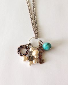 Upcycled Vintage Charm Necklace pearls jasper by Five17Designs, $18.00