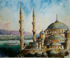 ayasofya camii (blue mosque istanbul) watercolor