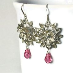 Flower Earrings in Silver,  Pink Dangles, Vintage Inspired, Retro Style #gifts